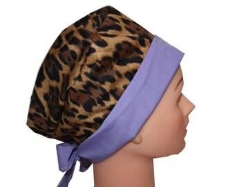 Scrub Hat Surgical Scrub Cap Chemo Chef Vet Nurse Dentist Hat Front Fold Pixie Animal Print Leopard Cheetah Lilac Purple