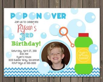 Bubble Birthday Party Invitation, Bubble Party Invite, Blue Chevron, Boys Birthday Invitation, 1st Birthday, Photo Invitation