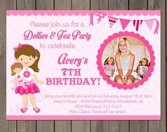 Doll Birthday Party Invitation, Doll Baby Birthday Party Invite, Baby Doll Birthday Invitation, Doll Birthday Tea Party, Any hair color