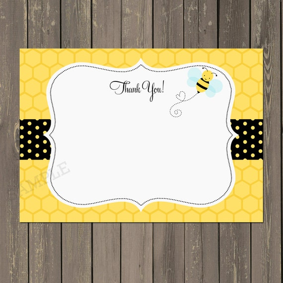 Bee Thank You Card Bumble Shower Yellow And