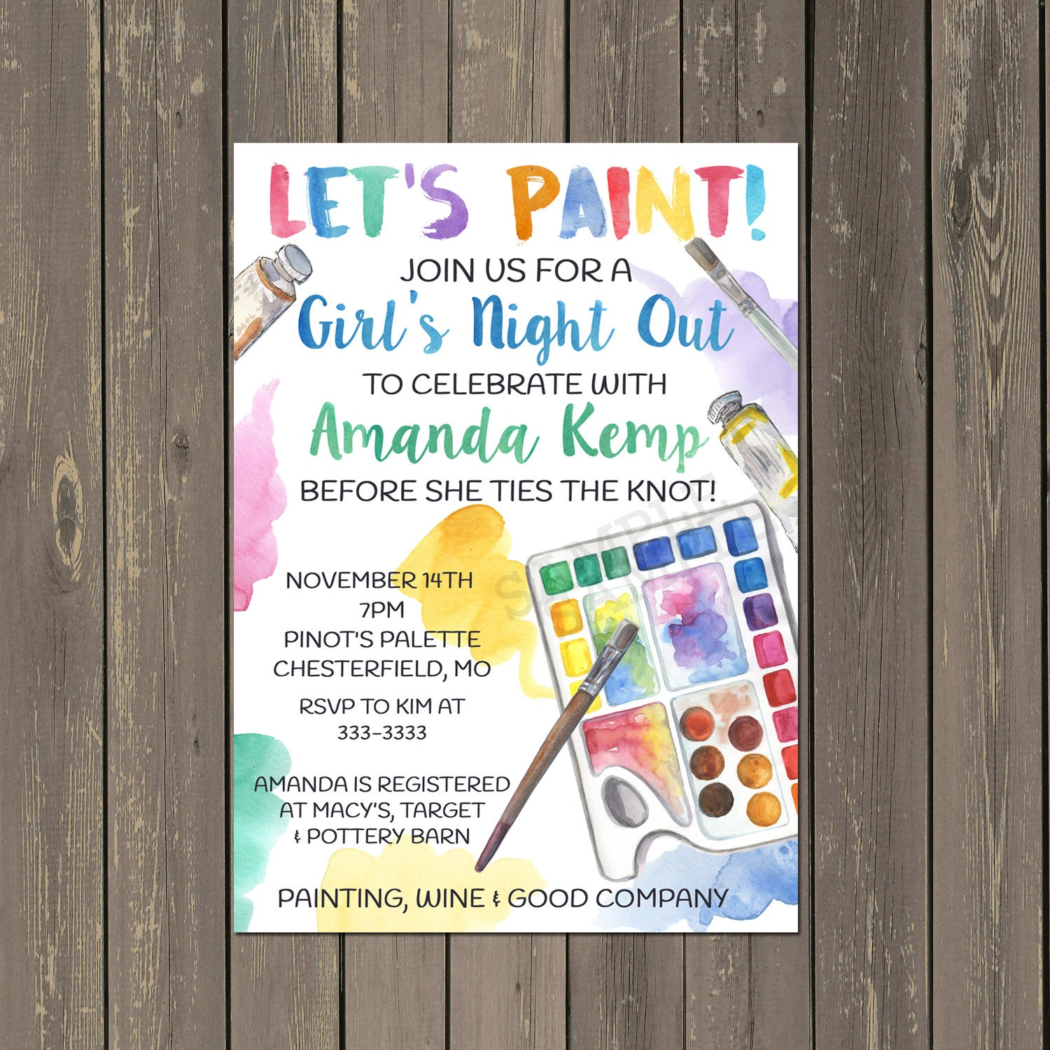 Adult Painting Party Invitation Bridal Shower Painting Party