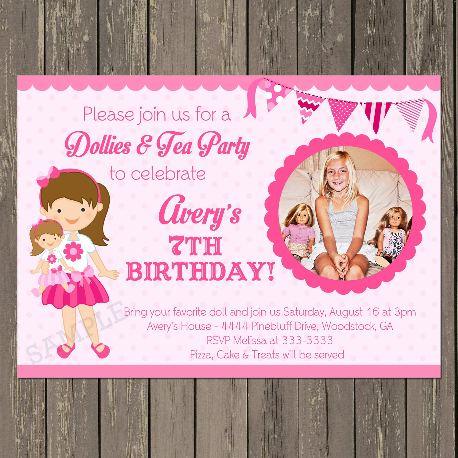 Doll Birthday Party Invitation Doll Baby Birthday Party – Tea Birthday Party Invitations