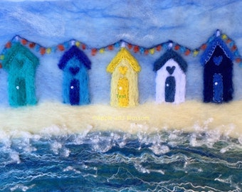 Beach Huts,Nautical,Sea,Seaside,Wool,Felt,Picture,Beach Hut Picture, Art,Embroidery,Seaside Picture,Hearts