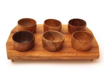 Vintage Oliv-Art Olive Wood egg cups and tray. Spain OlivArt, Oliv Art.