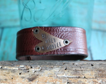 Hand Stamped Be Wild and Wonder Leather Bracelet with Heart