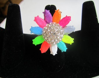 Hand Painted Flower Glitter Ring - Multicolor