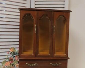 Large Wooden Jewelry Box with Bi-fold Door.