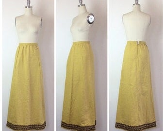 SALE /// 60s Yellow Linen Maxi Skirt - 1960s Vintage Bohemian Brown Embellished Long Skirt - Small - Size 4