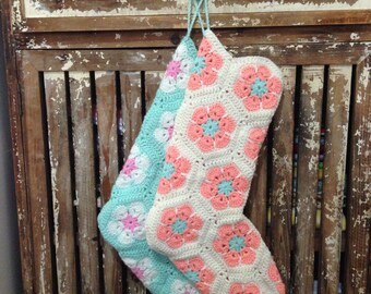 African flower hexagon Christmas stocking