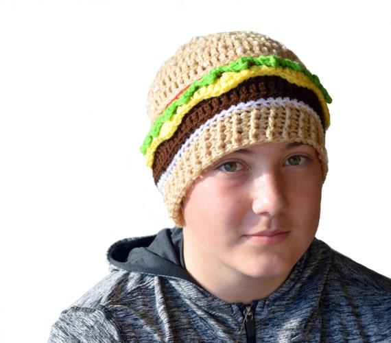 Cheeseburger Hat, Burger Beanie, Unique Hat, Kids Gift, Mens Food Hat, Crochet Food, Cheeseburger Knit Hat, Knit Mens Beanie, Fun Gift, Boys