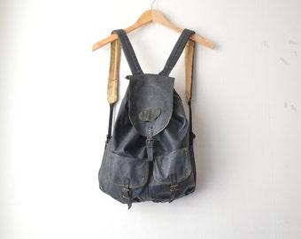 black leather grunge backpack rucksack 80s 90s