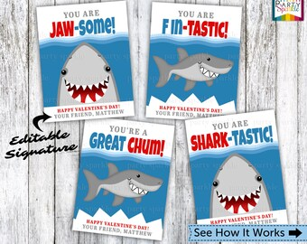 INSTANT DOWNLOAD Valentines Day Printable Cards Sharks - Kids Personalized Digital Party Handouts - Editable .pdf file
