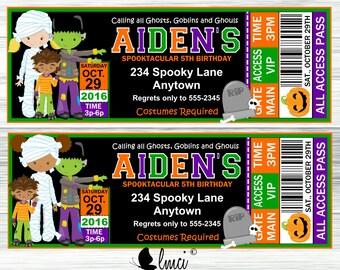 Kids Halloween Party Invitation, Kids Halloween Birthday Invitation, Halloween Ticket Invitation- Digital File