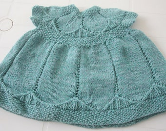 Sale 20%. Baby Dress / Hand knitted Baby Dress / Baby Hand Knit Dress / Alpaca Yarn /06-12 Months. Free Shipping. Ready to Ship.