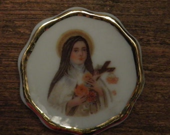 Antique french small porcelain plate made by Limoge Saint Therese of Lisieux France