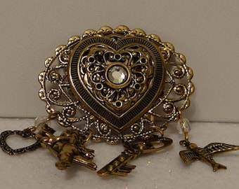 Vintage Retro Brooch Rhinestones and meaningful charms