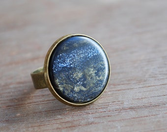 Midnight . Shimmering blue ring / boho jewelry /  gifts for her