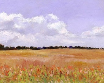 Landscape print daylillies in a field, impressionism, paper, art, scenic pictures, lavender, white, rust, country scene, flowers, paintings