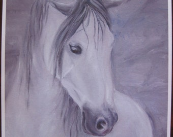 Grey Horse Print from original oil painting