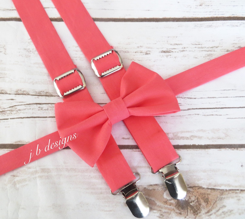 coral suspenders and bow tie set coral suspenders