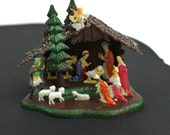 Small Nativity Sceen Christmas Ornament with Glittery Snow and Hole for Light bulb