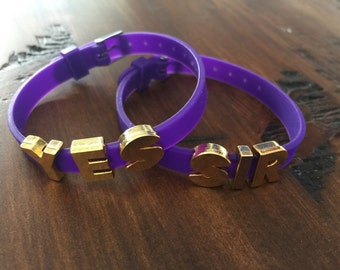 Suicide Squad Harley Quinn inspired cuff bracelet set Yes Sir! Purple silicone