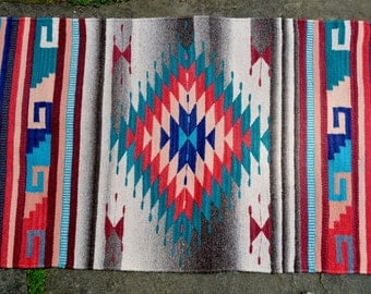 Hand woven Zapotec rug softest hand spun and hand dyed wool 25.5 x 56 inches