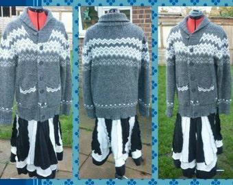 """Grey & Black Upcycled Coat Chest Size 44"""""""