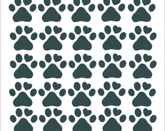 25 Vinyl Dog Paw Heart Stickers | Dog Paw Stickers | Pet Decals