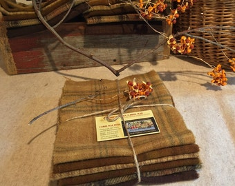 Fall Colors Wool Bundle, Wool Fabric for Rug Hooking, Applique, Penny Rugs, 6 One Sixteenth Yard Pieces of Autumn's Golds and Browns W234