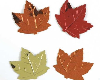 Maple Leaf Metallic Autumn Fall Embossed Leaves Confetti Mix - 1/2 ounce package