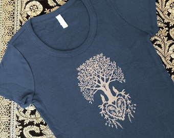 Tree of Life Navy Blue Silkscreened Women's Tee