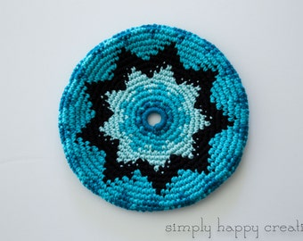 """Cotton Crochet Pocket Flying Disk Toy in Shades of Blue--7.5"""""""