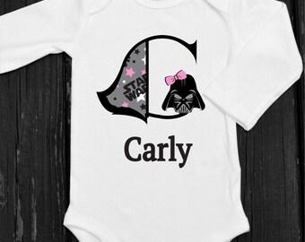 Baby Girl Star Wars Onesie Darth Vader Onesie Personalized Star Wars Monogram Onesie Toddler Girl Star Wars Shirt Girls Darth Vadar Shirt