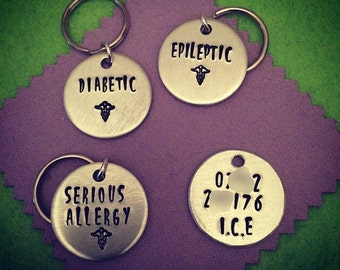 Hand Stamped Medical Alert Keyring/Keychain/Bag tag. ICE contact for emergency. Allergy, Epilepsy, Diabetes. Free UK p&p