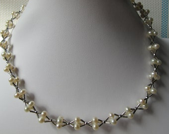 4-5mm White Potato Freshwater Pearl 925 Sterling Silver Necklace A232