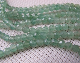 4mm Green Aventurine Faceted Round Bead S47
