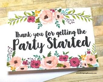 Wedding Card for DJ Musician Band - Thank You for getting the Party Started Wedding Thank You Card - Musician Vendor