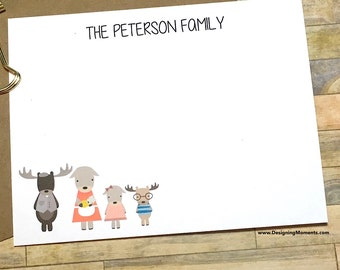 Personalized Family Stationery, Moose Family Note Cards, Baby Shower  Thank You Cards, Family Stationary, Woodlands Family Flat Cards DM158