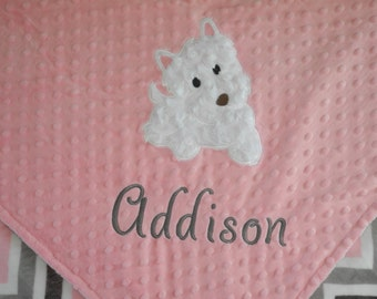 Personalized Baby Blanket, Puppy on Pink and Chevron Minky Baby Blanket, Custom Blanket, Made to Order