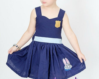 Judy Hopps Inspired - Judy Hops Dress- Officer Judy Hopps - Zootopia Dress - Birthday Party Dress - Costume Dress -