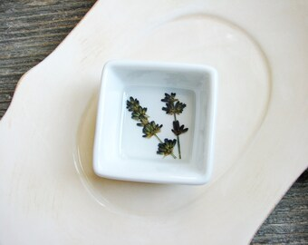 Lavender Dish, Desk Organizer, Jewelry Storage, Ring Dish with Flowers, Minimalist Ring Holder, Herbal Flower Bowl, Nature Lover Gift