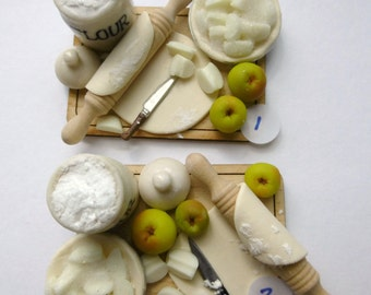 12th scale dollhouse apple pie preparation board, Victorian style flour jar