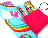Unicorns and Rainbows Crayon Roll - Unicorn Rainbow Crayon Pink Roll, 8 Crayons