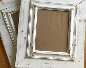 11x14 opening frames shabby chic chunky white distressed frames - Distressed Wood Frames