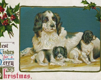 Vintage Christmas Postcard with Dogs (Digital Scan)