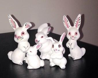 Set of 5 Vintage Bunnies