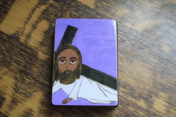 """2.5"""" X 3.5"""" Jesus Falls the First Time with his Cross Byzantine Folk style icon on wood by DL Sayles"""