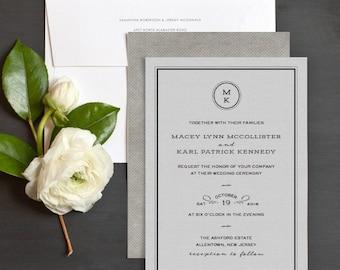 Tailored Monogram Wedding Invitation