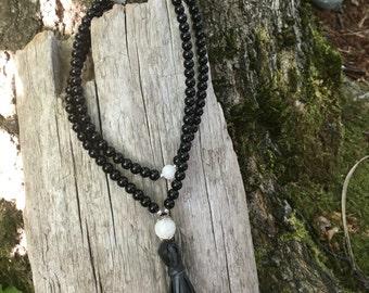 Black Onyx and Moonstone Mala with Recycled Bike Tube Tassel by Bicycling Buddha B445